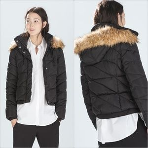 ZARA Padded Jacket:Black, US L/EUR L